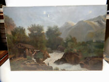 ANTIQUE PAINTING OIL ON CANVAS EARLY AMERICAN FISHING AND LUMBER MILL SCENE 1860