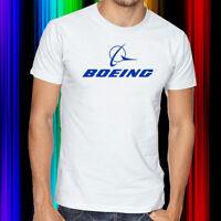 Boeing Business Jets Blue Logo Men's White T-Shirt Size S, M, L, XL & 2XL