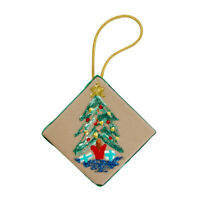 1980's Vintage Felt Back Ceramic Tile Glitter Sparkle Christmas Tree Ornament