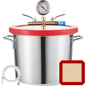 2 Gallon 9L Vacuum Chamber Stainless Steel kit Silicone gasket Epoxies HVAC