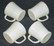 FOUR (4) NEW OLD STOCK* FIRE-KING IVORY FLAT BOTTOM D-HANDLE SHAVING MUGS UNUSED