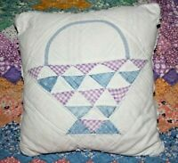 Throw Pillow Made From Vintage 1930's Farmhouse Patchwork Basket Handmade Quilt