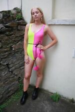 Sexy hot pink and yellow swimsuit high leg sccop back spandex suit hydrasuit