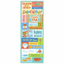BEACH Embossed Glitter Scrapbook Stickers