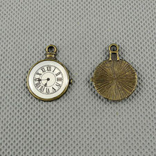 1x A1974 Jewelry Making Pendant Vintage Findings Diy Charms Chip Paster Clock