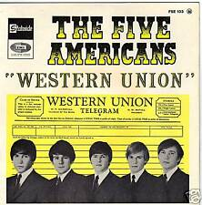 THE FIVE AMERICANS WESTERN UNION FRENCH ORIG EP 45 PS 7""