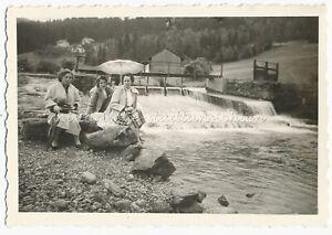 Lam Schrenkenthal 1957 - Wehr Brücke Fluß Weisser Regen - Altes Foto 1950er