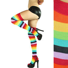 Women Girl Over The Knee Socks Rainbow High Thigh Long Womens Stripey Stocking