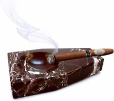 More details for handmade rosso levanto red marble cigar ashtray for home, patio, outdoor use