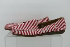 AEROSOLES SO SOFT Casual Canvas Loafer Shoes Red-White Stripes Womens Size 7.5
