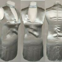 ASOS Love & Other Things Grey Satin Top High Neck Cut out Vneck Party Occasion 8
