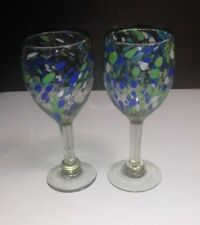 "Hand Blown 8"" Mexican CONFETTI 10 Oz Water Wine Goblets Glasses ~ Set of 2"