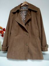 Lovely Per Una Beige Hip Length Cord Button Coat Size 16/18, GC