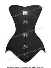26 Double Steel Boned Waist Training Black Cotton Long Torso Overbust Corset S
