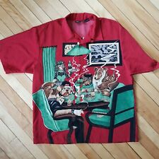 Men's Novelty Poker Shirt Camp Hawaiian Dragonfly Red Loop Collar Dogs Poodle XL