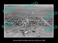 OLD LARGE HISTORIC PHOTO ORROROO SOUTH AUSTRALIA, AERIAL VIEW OF TOWN c1940