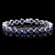 Certified Blue Sapphire 21.00cttw and 1.70cttw Diamond 14KT White Gold Bracelet