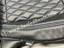 Black Leather Seat Covers w/ Blue Diamond Stitching For 2020 2021 Jeep Gladiator