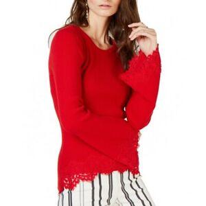 INC NEW Women's Lace-trim Bell Sleeves Scoop Neck Sweater Top TEDO