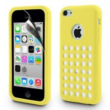 Yellow Matte TPU Silicone Case Cover with Retro Dot Holes for iPhone 5C