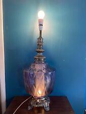 Large Mid Century Hollywood Regency Carl Falkenstein Lamp Aubergine Empoli Glass