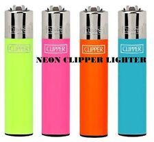 4 / 8  x GENUINE CLIPPER LIGHTERS  Neon Colour FLUORESCENT' FLINT  REFILLABLE