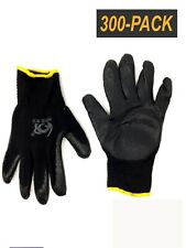 300 Pair Pack- Black Cotton Palm Coated Work Gloves - Size L/XL - Comfort Grip