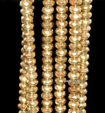 """6MM GOLD HEMATITE GEMSTONE YELLOW GOLDEN FACETED RONDELLE 6X3MM LOOSE BEADS 16"""""""