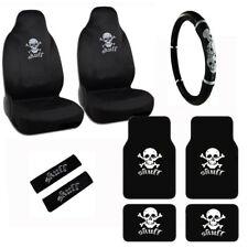 New Crossbones White Skull Car Seat Covers Steering Wheel Cover & Floor Mats Set