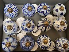 Vintage Style - Blue & White Ceramic Doorknobs - 12 Varieties