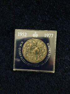 H.M. QUEEN ELIZABETH II SILVER JUBILEE CROWN COIN 1952 1977 TSB case.