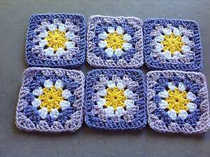 "Lot Of 20 5"" LILAC Crochet FLOWER GRANNY SQUARES Afghan Blocks Throw PURPLE"