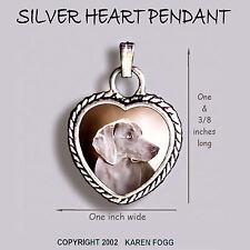 Weimaraner Dog - Ornate Heart Pendant Tibetan Silver