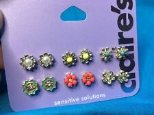 Six Pairs Of Claire's Crystal Pearl And Enamel Flower Stud Earrings