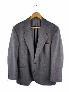 VINTAGE Stafford Ellinson Button Up Blazer Jacket Mens Size 107 Grey Black Coat