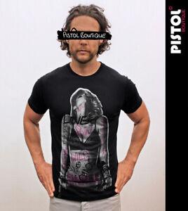 Pistol Boutique Men's Black Standard Fit Crew GRAFFITI WORDS GIRL T-shirt SMALL