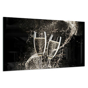 Tempered Glass Photo Print Wall Art Picture Wine Champagne Splash Prizma GWA0336