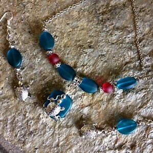 Sea Glass Beach Style Necklace With Turtle Charm And Earrings Handcrafted