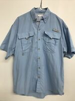Mens' Columbia Sportswear PFG Blue Short Sleeve Button Up Camp Shirt Fishing - S