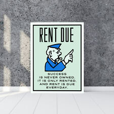 "Alec monopoly Handcraft Oil Painting on Canvas,""RENT DUE""/36"""