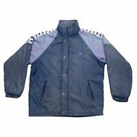 Kappa Quilted Coat Jacket | Vintage 90s Retro Sports Brand Blue Large VTG
