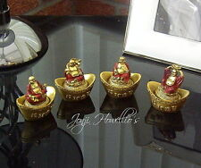 Lucky CHINESE BUDDHA Boat Set Of 4 Rustic Gold Small Decorative Ornaments