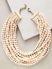 NWT Anthropologie Dandelot Layered Bead Necklace Peach Resin