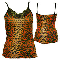 STRAPPY VEST LACE NECK TOP GOTHIC ORANGE LEOPARD  ALTERNATIVE