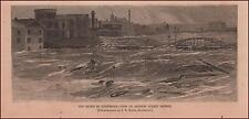 ROCHESTER, NEW YORK Flood View by Andrew Street Bridge, antique engraving 1865