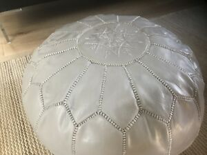 NEW Moroccan Leather Ottoman Pouffe Pouf Footstool In Light Grey