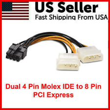 Dual 4 Pin Molex IDE to 8 Pin PCI Express Power Supply Cable PCI-E Adapter PCIe
