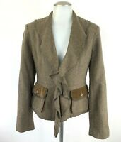 Cabi Women Size 4 Kensington Brown Wool Ruffle Equestrian Riding Blazer Jacket