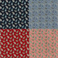 100% Cotton Poplin Fabric Rose & Hubble Paisley Indian Floral Flower Teardrop