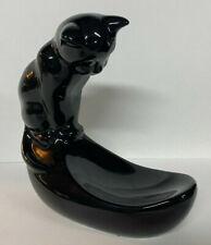 """Vintage Ceramic Black Cat Fish Bowl Candy Dish MCM 10"""" Change Key Desk Holder"""